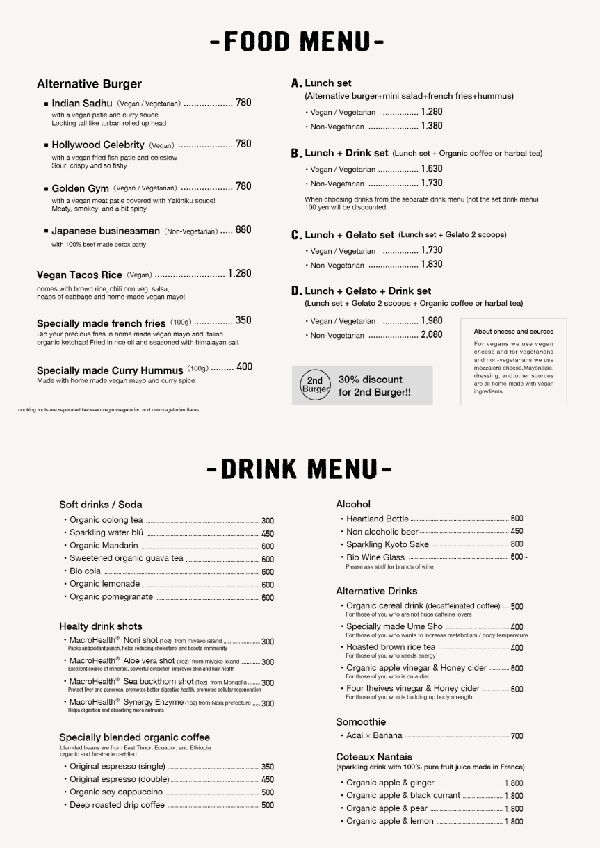 English Menu for Pre-opening